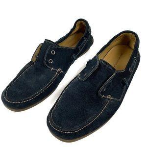 John Varvatos Navy Blue Suede Loafers Boat Shoes